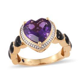 GP Amethyst (Hrt 3.70 Ct), Kanchanaburi Blue Sapphire Black Colour Enameled Ring Yellow Gold Vermeil Sterling Silver 3.750 Ct.