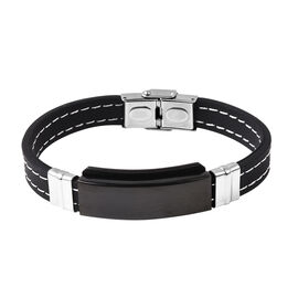 Men Bracelet in Black and Silver Plated Stainless Steel 8.25 Inch