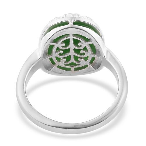One Time Close Out Deal- Green Jade (Ov 12x10 mm) Tree of Life Sterling Silver Ring  6.000  Ct.
