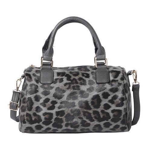 Leopard Print Satchel Bag (Size 30x22x12cm) - Grey
