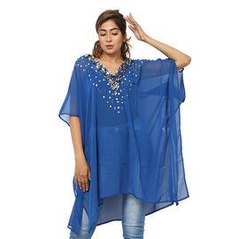 Crystal-Embellished V-Neck Kaftan Top (One Size; L-90cm, W-74cm) - Blue