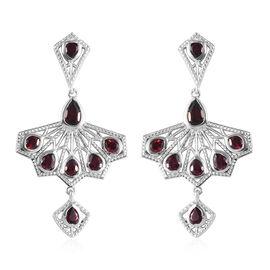 Rhodolite Garnet Fan-Inspired Earrings (with Push Back) in Platinum Overlay Sterling Silver 3.69 Ct,