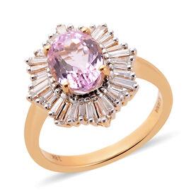ILIANA 3 Carat Kunzite and Diamond Halo Ring in 18K Gold 5.09 Grams