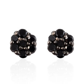 Black Diamond Stud Earrings (with Push Back) in Sterling Silver