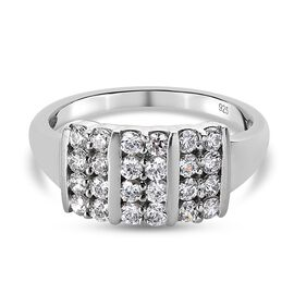 J Francis Platinum Overlay Sterling Silver Cluster Ring Made with SWAROVSKI ZIRCONIA 1.25 Ct.
