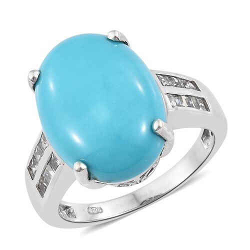 11 Carat Sleeping Beauty Turquoise and Zircon Solitaire Ring in Platinum Plated Silver