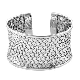 Woven Mesh Cuff Bangle in Sterling Silver 58.17 Grams 7.5 Inch