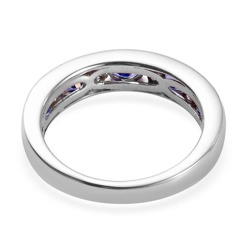 AAA Tanzanite and Natural Cambodian Zircon Band Ring in Platinum Overlay Sterling Silver 1.00 Ct.