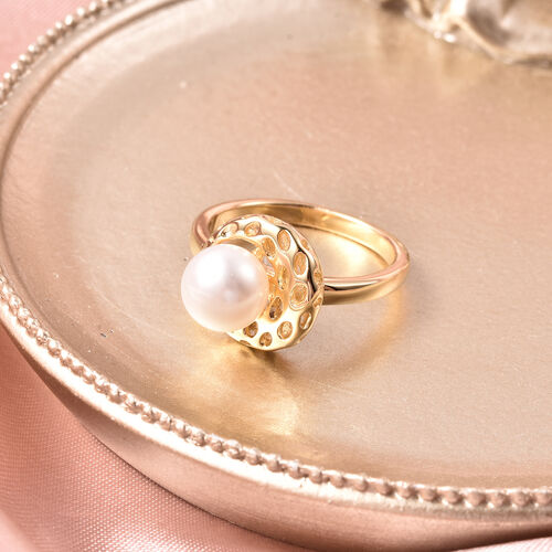 RACHEL GALLEY - Freshwater White Pearl Latticework Solitaire Ring in Yellow Gold Overlay Sterling Silver