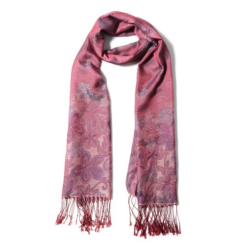 Wine Red, Purple and Multi Colour Scarf with Chrysanthemum Flower Pattern with Tassels (Size 180x70 Cm)