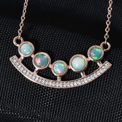 Ethiopian Welo Opal (Rnd), Natural Cambodian Zircon Necklace (Size 18) in Rose Gold Sterling Silver 1.250 Ct.