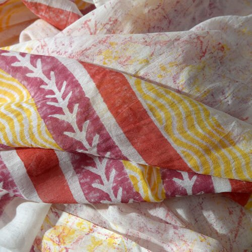 100% Cotton White, Yellow and Multi Colour Stripe Pattern Scarf (Size 200x90 Cm)