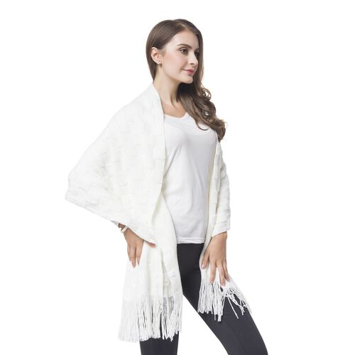 Simulated Pearl Embellished White Colour Checker Pattern Knitted Shawl with Tassels (Size 180X50 Cm)