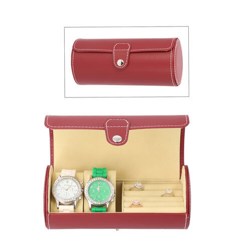 Unique Roll Style Watch and Jewellery Storage Box (Size 9x19.5cm) - Red