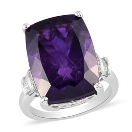 Amethyst and Diamond Ring in Platinum Overlay Sterling Silver 14.29 Ct.