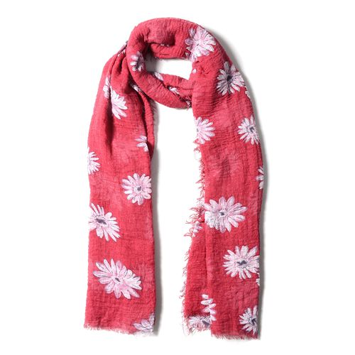 Epic Deal Red Colour Scarf with Chrysanthemum White Flower Pattern ( Size 180x90 Cm)