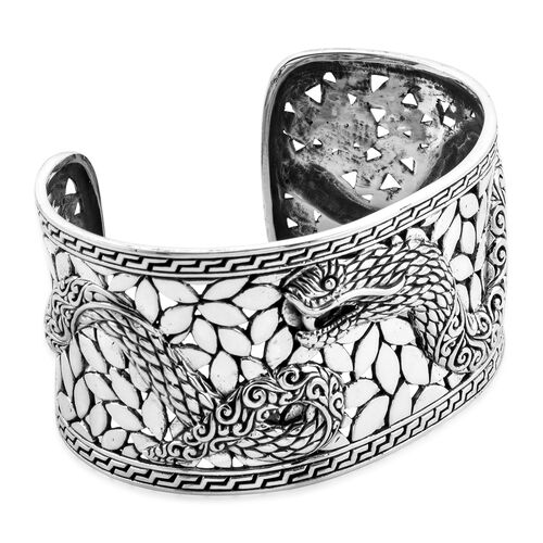 Royal Bali Collection - Sterling Silver Cuff Bangle (Size 7.25), Silver wt 71.66 Gms