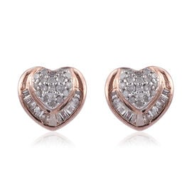Diamond (Rnd and Bgt) Heart Stud Earrings (with Push Back) in Rose Gold Overlay Sterling Silver 0.330 Ct.
