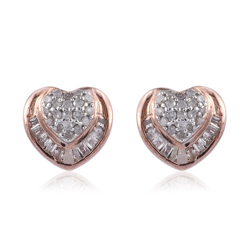 Diamond (Rnd and Bgt) Heart Stud Earrings (with Push Back) in Rose Gold Overlay Sterling Silver 0.33