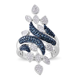 Blue and White Diamond (Rnd) Leaves Crossover Ring (Size W) in Platinum Overlay Sterling Silver 1.000 Ct, Sil