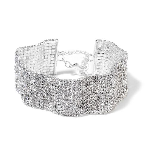 Designer Inspired-AAA White Austrian Crystal Wavy Bracelet (Size 7.5 with 2 inch Extender) in Silver Tone
