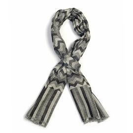 100% Cashmere Wool Black, Grey and White Colour Chevron Pattern Scarf  L180x W70 Cm