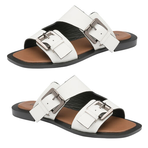 Ravel Kintore Leather Mule Sandals (Size 3) - White