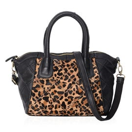 100% Genuine Leather Leopard Pattern Tote Bag with Detachable Shoulder Strap (Size 37x27x10x24 Cm) -