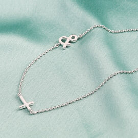 Personalise Single Alphabet + Cross, Name Necklce in Silver, Size 18+2 Inch