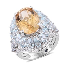 GP 12 Carat Citrine and Multi Gemstones Halo Ring in Platinum Plated Sterling Silver 7.33 Grams