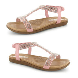OLLY Mags Cushioned Toe Post Sandal in Pink Colour
