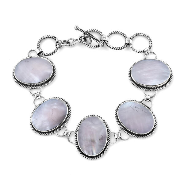 Royal Bali Mother of Pearl Bracelet in Silver 18.42 Grams 6.25 Inch