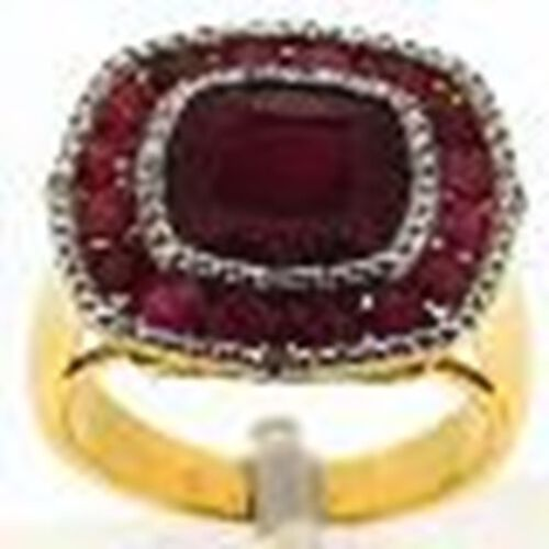 African Ruby (Cush 6.25 Ct), Burmese Ruby and White Topaz Ring in 14K Y Gold Overlay Sterling Silver 9.350 Ct.