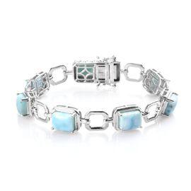 Larimar Bracelet (Size 7.5) in Platinum Overlay Sterling Silver 21.00 Ct, Silver wt 15.80 Gms