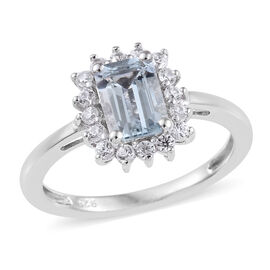 Espirito Santo Aquamarine (Oct), Natural Cambodian Zircon Ring (Size R) in Platinum Overlay Sterling Silver 1