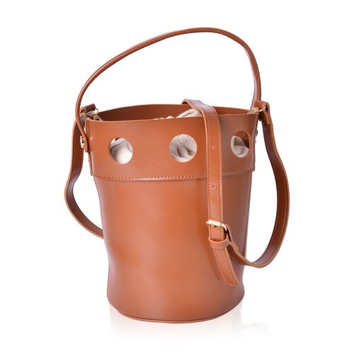 New Style Bucket Bag with Tan Canvas Open Top and Adjustable Shoulder Strap (Size 23.5x17x17 Cm)