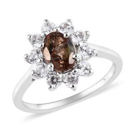 2 Carat Andalusite and Zircon Halo Ring in Platinum Plated Silver