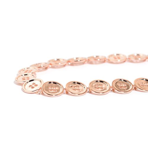 LucyQ Button Necklace (Size 20 with Extender) in Rose Gold Overlay Sterling Silver 51.33 Gms.