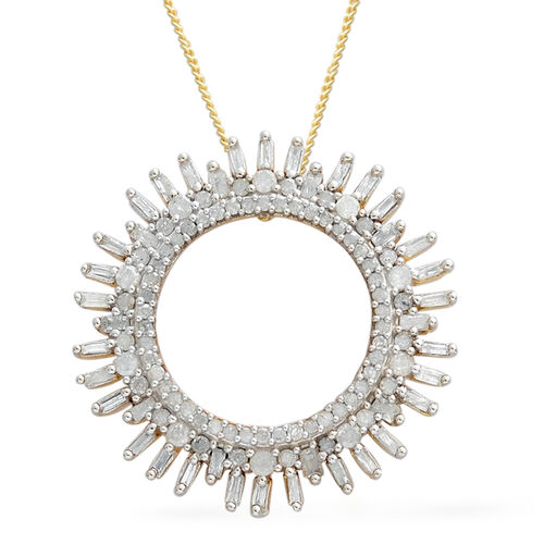 Designer Inspired- Diamond (Rnd and Bgt) Circle of Life Pendant with Chain in Platinum and 14K Gold Overlay Sterling Silver 1.000 Ct. Number of Diamonds 116