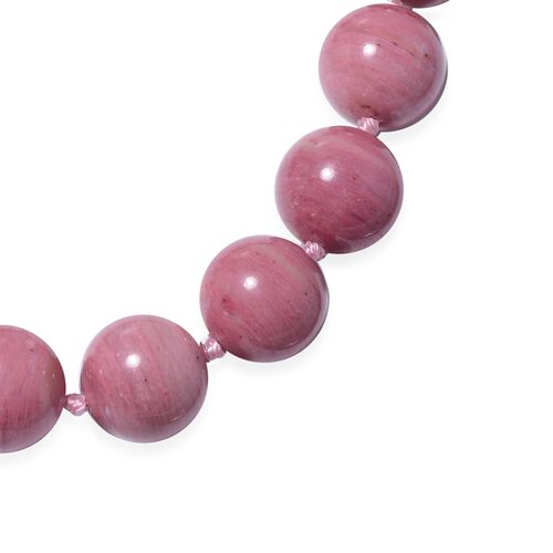 Extremely Rare Zaire Rhodonite Necklace (Size 20) in Rhodium Overlay Sterling Silver with Magnetic Lock 432.00 Ct.