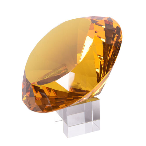 TJC Exclusive Diamond Cut Yellow Glass Crystal with Stand (20cms) in a Gift Box-yellow