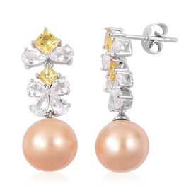 South Sea Golden Pearl (Rnd 10-10.5 mm), White Topaz and Yellow Sapphire Earrings (with Push Back) in Rhodium Plated Sterling Silver