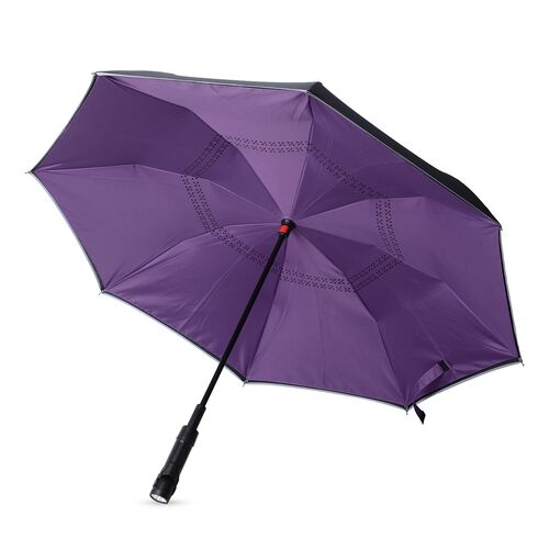 Purple and Black Colour Reverse Closing Umbrella with  LED Light on handle (Size 80.5 Cm)