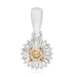 9K White Gold SGL Certified Natural Champagne and White Diamond  (I3/G-H) Pendant 0.25 Ct.