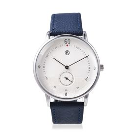 STRADA Water Resistance Watch with Navy Blue Colour Strap in Stainless Steel