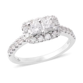 NY Close Out Deal -14K White Gold Ever Us Diamond (Rnd and Sqr) (I1-I2 G-H) Ring 1.00 Ct. Size N