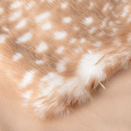 Set of 2 - Superior Quality Faux Fur Reindeer Cushion Cover with Reverse Faux Mink (Size 45x45 Cm)