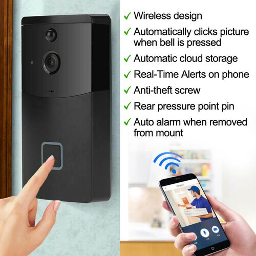 Aquarius Smart Home Video Doorbell with Chime, HD recording at 720p, Night Vision, Anti-theft Alarm and so much more