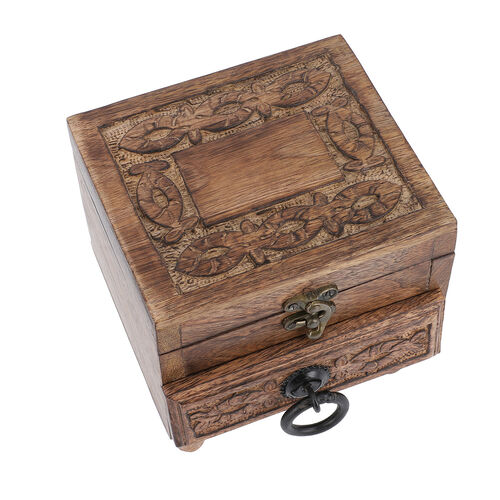 Mango Wood Antique Burnt Finish Carved 2-Tier Box with Drawer (Size 20x20x6cm)