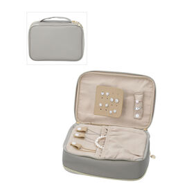 Portable Jewellery and Cosmetic Organiser with Zipper Closure (Size 24x17x9 Cm) - Grey